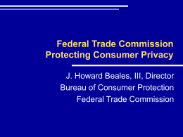 Federal Trade Commission 2002 Privacy Agenda