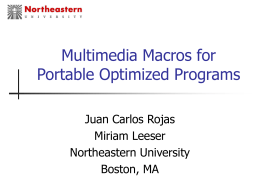 Multimedia Macros for Portable Optimized Programs