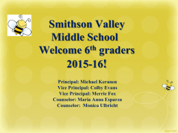 Smithson Valley Middle School Parent Information Night …