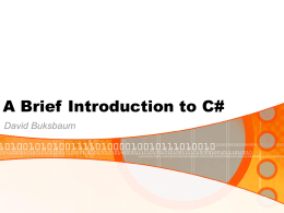 A Brief Introduction to C#