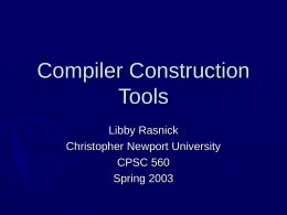 Compiler Construction Tools