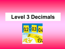 Level 3 Decimals - Fronter International