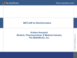 MATLAB Applications in Bioinformatics - fu