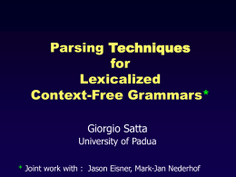 Parsing Techniques for Lexicalized Context