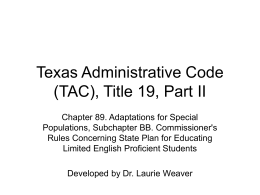 Texas Administrative Code (TAC), Title 19, Part II