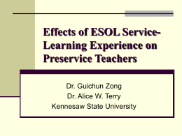 Effects of ESOL Service-Learning Experience on …
