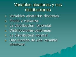 variables aleatorias y sus distribuciones