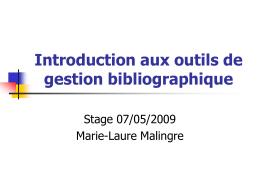 Introduction aux outils de gestion bibliographique
