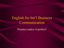 English for Int'l Business Communication