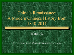 China from 1840 to 1949 - University of Massachusetts …