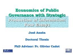Economics of Public Governance with Strategic …