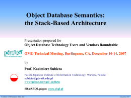 Object Database Semantics: the Stack