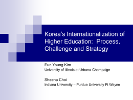 Korea's Internationalization of Higher Education: Process