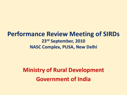SIRD Review meeting-[1]. - Ministry of Rural Development
