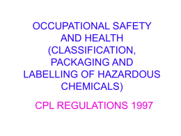 OCCUPATIONAL SAFETY AND HEALTH (CLASSIFICATION, …