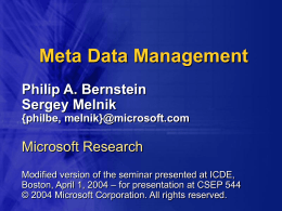 Meta Data Management - University of Washington