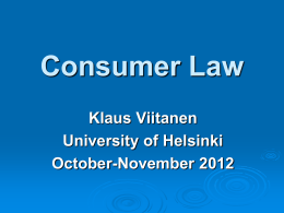 Consumer Law Especially from the viewpoint of …