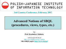 Advanced Notions of SBQL