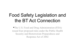 Bioterrorism Act Training WBFI