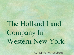 The Holland Land Company In Western New York