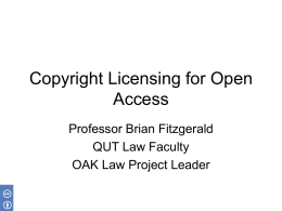 Copyright Licensing for Open Access