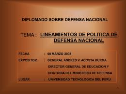 I FORO REGIONALSOBRE DEFENSA NACIONAL (6 – 8 …