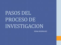 PASOS DEL PROCESO DE INVESTIGACION