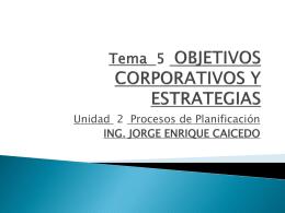 Tema 5 OBJETIVOS CORPORATIVOS Y ESTRATEGIA