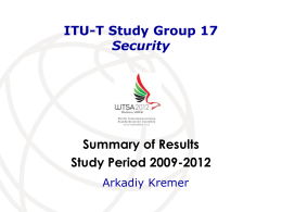 SG17 presentation for WTSA-12