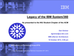 IBM z/Architecture CPU Features -