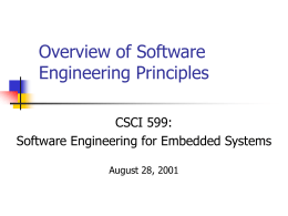 Overview of Software Engineering Principles