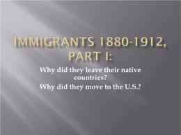 Immigration 1880-1900