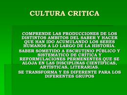 CULTURA CRITICA - Facultad de Ciencias Humanas
