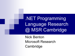 Programming Language Research on .NET @ MSR …