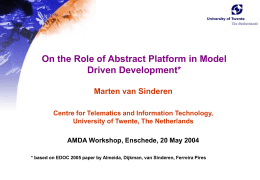 On the Role ofabstract platform in model driven …