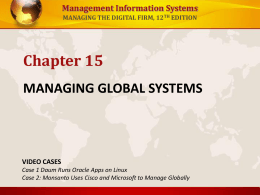 MANAGING GLOBAL SYSTEMS - University of San Diego