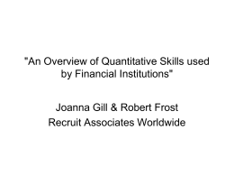 'An Overview of Quantitative Skills used by Financial