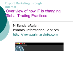 Export Marketing through Internet