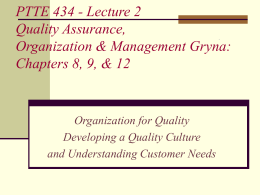 ITED 434 Quality Organization & Management