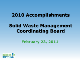 2008 Accomplishments Solid Waste Management …