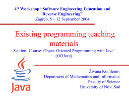 Existing programming teaching materials Section 'Course