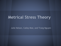 Metrical Stress Theory - Portland State University
