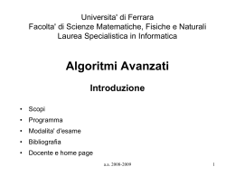 Universita' di Ferrara Facolta' di Scienze Matematiche