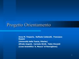 Progetto Orientamento - Benvenuto nel sito del Liceo Meucci