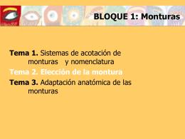 SISTEMAS DE ACOTACION DE MONTURAS Y …