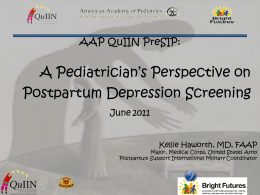 A Pediatrician's Perspective on Postpartum Depression