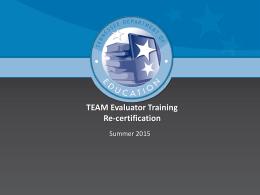 TEAM Evaluator Training Re