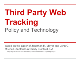 Third Party Web Tracking Policy and Technology