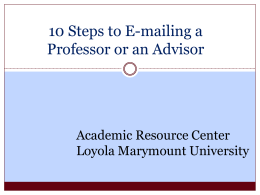 10 Steps to E-mailing a Professor