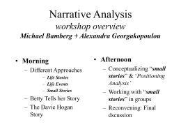 Narrative Analysis overview - Clark University | One of 40